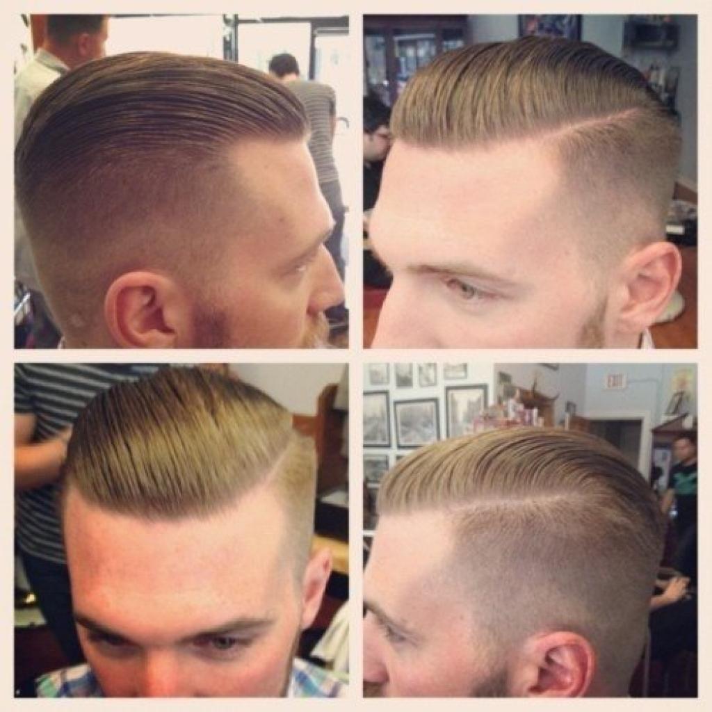 Причёска с выбритыми висками и пробором