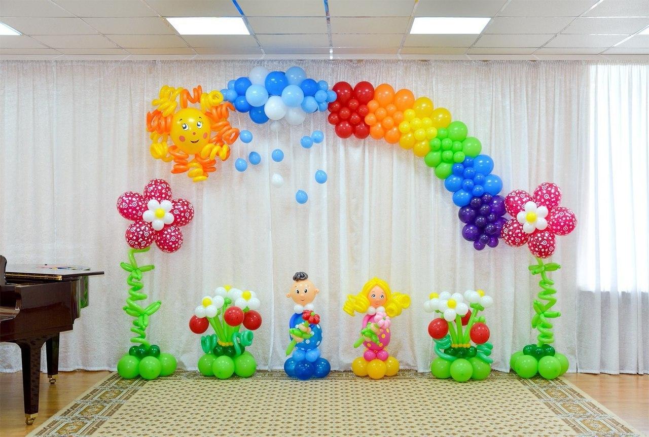 Украшения зала на выпускной в детском саду своими руками шарами