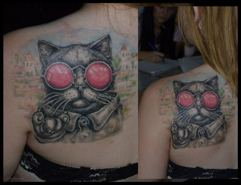 Татуировка котов на плечах
