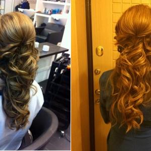Слева фото из салона, справа фото через 10 часов. Прическа держалась идеально весь день!