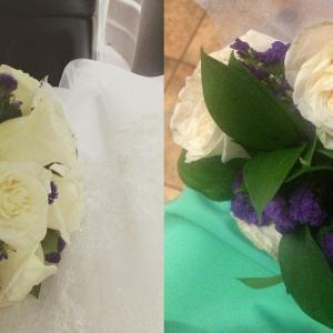 Букетик и дублер. Цветы одинаковые. Белая роза и статица