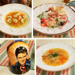 Слева направо - Суп с пельмешками на бульоне из ягненка, Цезарь, Матрешка со счетом, Суп курицей