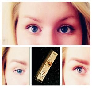 Верхнее фото-брови без макияжа,нижнее слева-нанесен карандаш, нижнее справа-маркер.