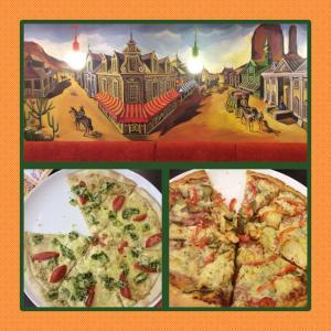 """Фрагмент интерьера, пицца """"Цезарь"""" справа, пицца """"Пикантная"""" слева"""