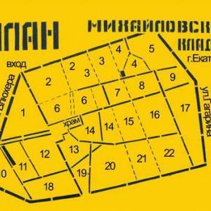 План-схема Михайловского кладбища Екатеринбурга