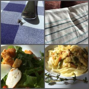 "муха, ""матрасная"" подушка, салат ""под Цезарь"", фетучини с курицей и овощами"
