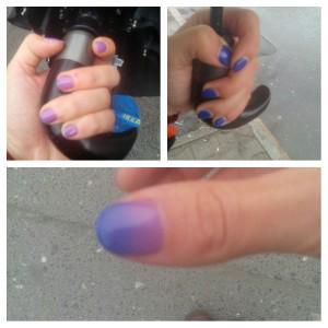 На фото: руки из тепла, руки на холоде, и градиент, как начинают темнеть ногти :)