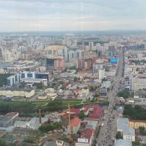 """Вид из ресторана """"Вертикаль"""", 51 этаж """"Высоцкого""""."""