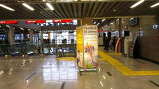 Реклама на пилларсах в жд вокзале Адлер