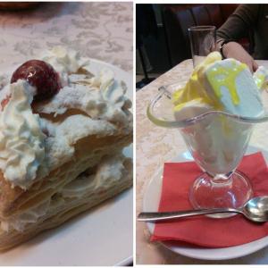 Клубничный мильфей и мороженое на десерт