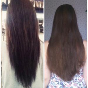 слева то, что хотела справа то, что получила. Волосы были ниже талии см на 8.